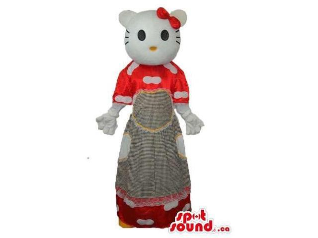 Kitty Cat Well-Known Cartoon Canadian SpotSound Mascot With A Red And Grey Long Dress