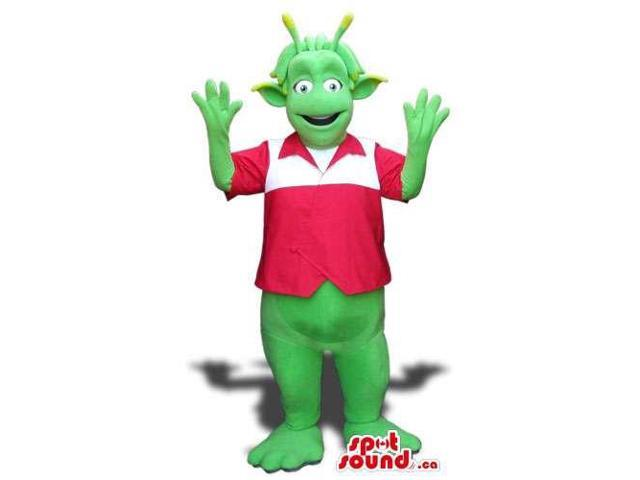 Green Alien Flashy Plush Canadian SpotSound Mascot Dressed In A Red And White Shirt