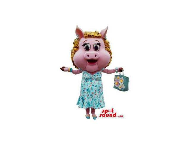 Pig Girl Plush Canadian SpotSound Mascot With A Shopping Bag Dressed In A Blue Dress