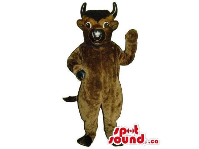 Customised Brown Bull Animal Canadian SpotSound Mascot With Nose Ring