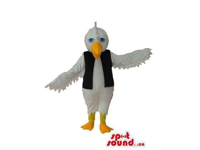 White Bird Plush Canadian SpotSound Mascot Dressed In A Black Long Vest