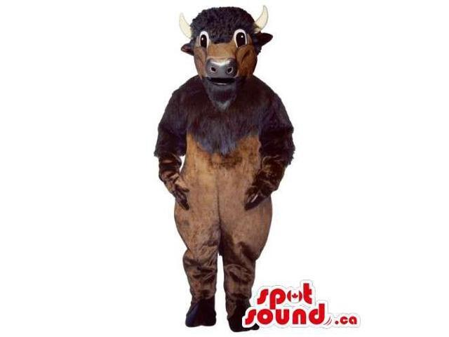 All And Customised Dark Brown Bull Animal Canadian SpotSound Mascot With Beard