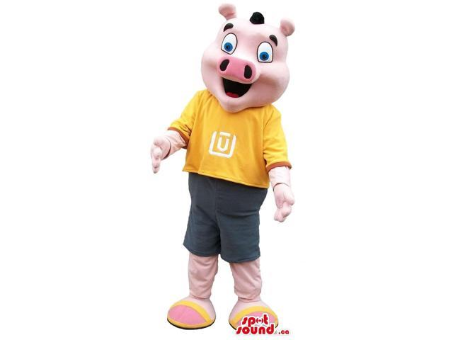 Customised Pig Plush Canadian SpotSound Mascot Dressed In A Yellow T-Shirt With A Logo