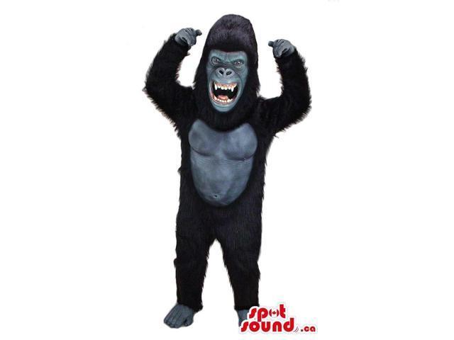 Angry Black Chimpanzee Animal Plush Canadian SpotSound Mascot With Sharp Jaws