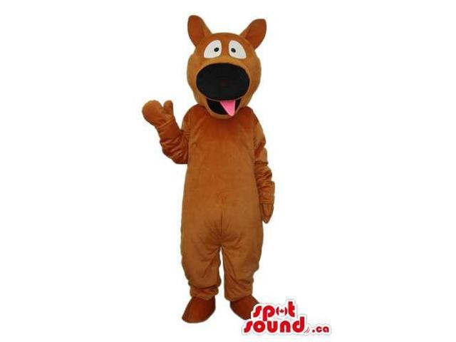 Cartoon Dark Brown Dog Plush Canadian SpotSound Mascot With A Large Black Nose