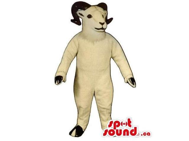 White Customised Goat Animal Canadian SpotSound Mascot With Curved Black Horns
