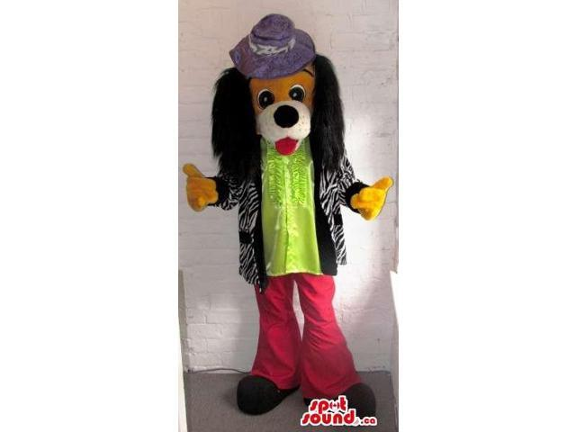 Brown Dog Animal Canadian SpotSound Mascot With Long Ears And Flashy Gear