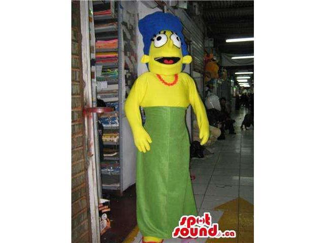 Marge The Simpsons Character Plush Canadian SpotSound Mascot Dressed In A Green Dress