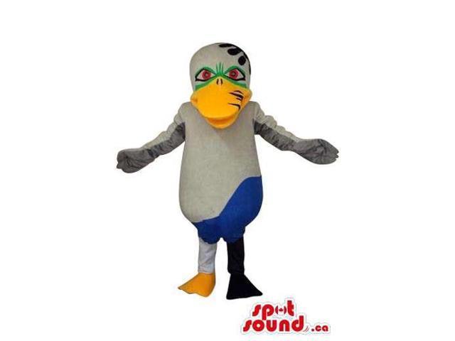 Cartoon Fairy-Tale Blue And Grey Duck Bird Plush Canadian SpotSound Mascot