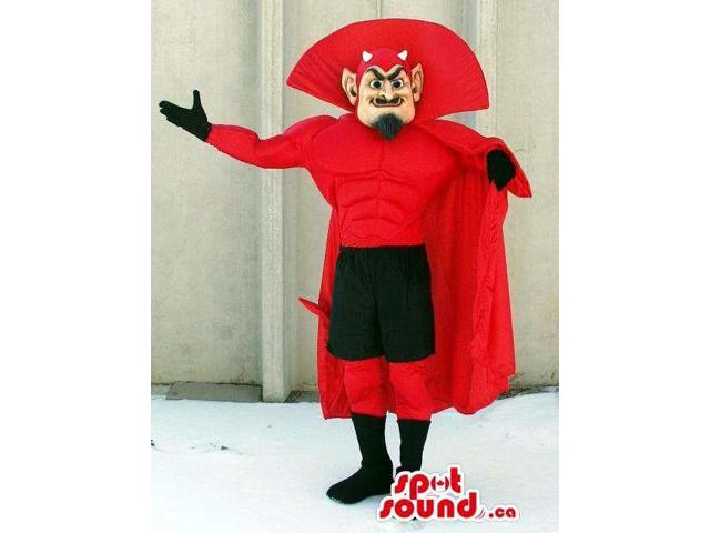 Red Devil Character Canadian SpotSound Mascot With Black And Red Clothes