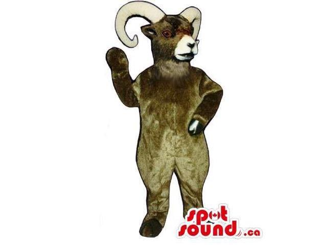 Brown Customised Goat Animal Canadian SpotSound Mascot With Curved White Horns