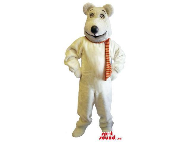 Customised White Large Bear Plush Canadian SpotSound Mascot Dressed In A Scarf