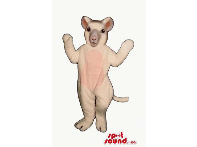 Customised Cute White And Pink Mouse Plush Canadian SpotSound Mascot