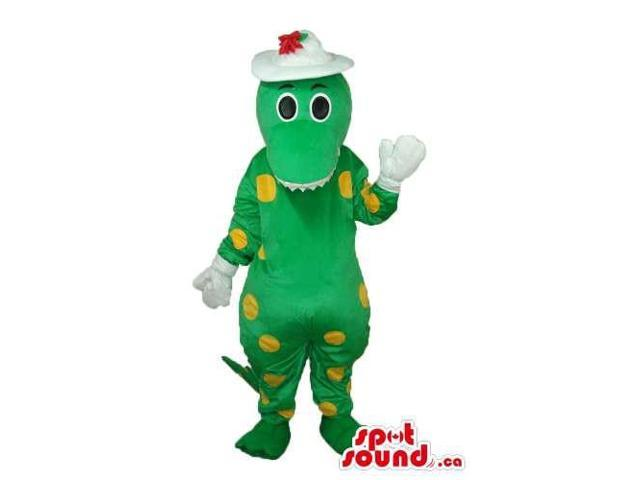Cartoon Green And Yellow Dragon Plush Canadian SpotSound Mascot With Yellow Dots
