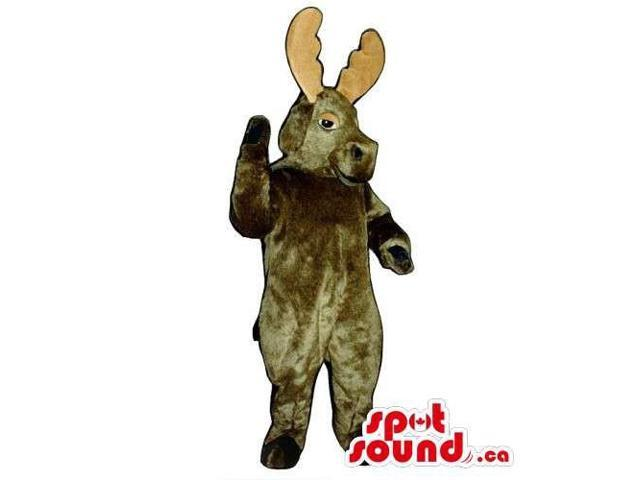 All Dark Brown Moose Animal Canadian SpotSound Mascot With Beige Horns