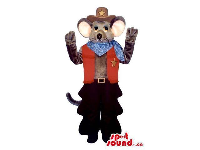 Cute Grey Mouse Plush Canadian SpotSound Mascot Dressed In Cowboy Clothes
