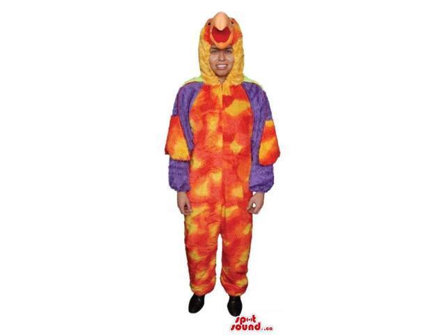 Large Flashy Orange Exotic Bird Adult Size Plush Costume