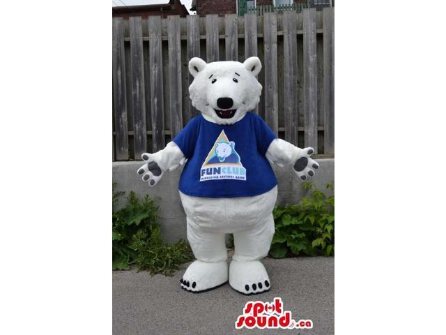 White Large Bear Plush Canadian SpotSound Mascot Dressed In A Blue T-Shirt