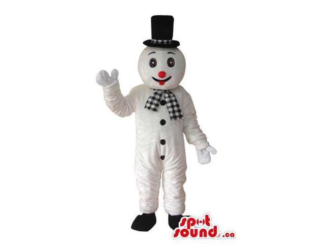 Snowman Plush Canadian SpotSound Mascot Dressed In A Top Hat And Checked Scarf