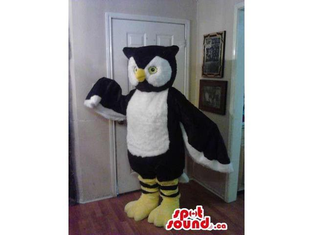 Large White And Black Owl Plush Canadian SpotSound Mascot With Large Wings