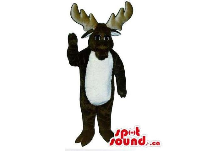 Dark Brown Moose Animal Canadian SpotSound Mascot With White Belly For Logos