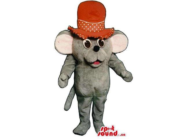 Cute Small Grey Mouse Plush Canadian SpotSound Mascot Dressed In A Large Red Top Hat