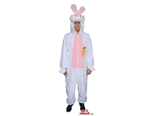 Large White Bunny Adult Size Plush Costume With A Carrot