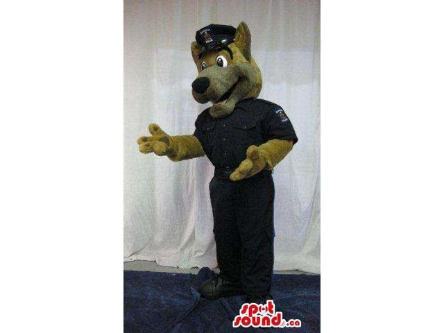 Brown Dog Plush Canadian SpotSound Mascot Dressed In Police Clothes With A Logo