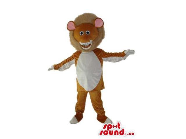 Cartoon Brown Lion Plush Canadian SpotSound Mascot With White Belly And Large Hair