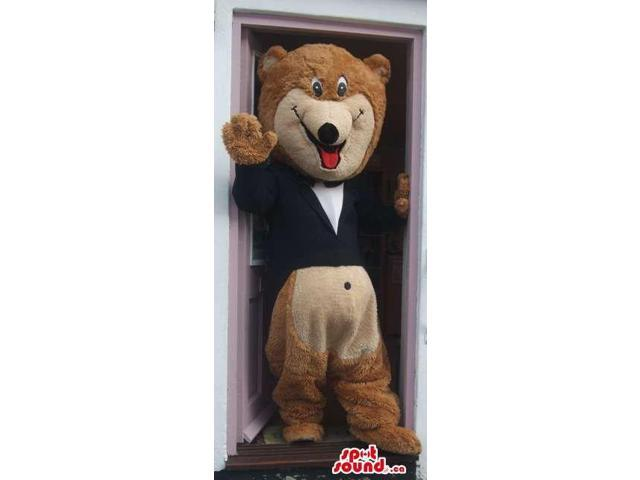 Customised Brown Bear Forest Canadian SpotSound Mascot Dressed In A Black Smoking
