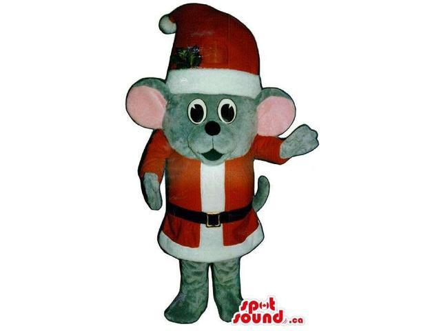 Cute Small Grey Mouse Plush Canadian SpotSound Mascot Dressed In Santa Claus Clothes