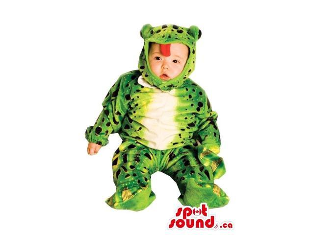 Cute Green Frog Toddler Size Plush Costume With A Red Tongue