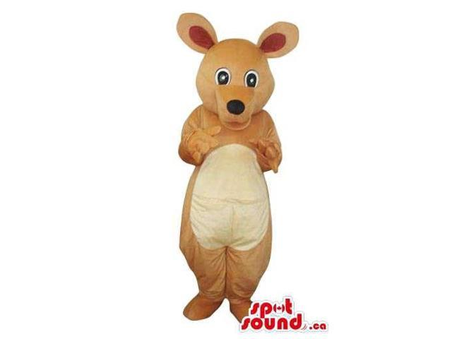 Brown And Beige Mouse Plush Canadian SpotSound Mascot With A Round Black Nose