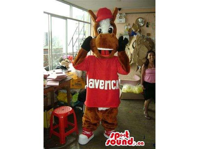 Cool Brown Horse Plush Canadian SpotSound Mascot Dressed In Red Gear And A Cap