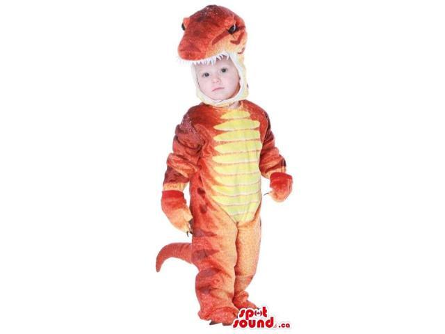 Great Orange And Yellow Dinosaur Toddler Size Plush Costume