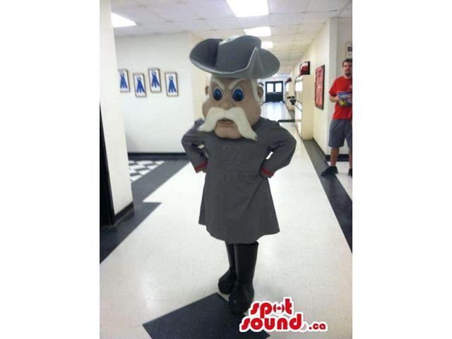 Human Canadian SpotSound Mascot With White Moustache And Grey Clothes