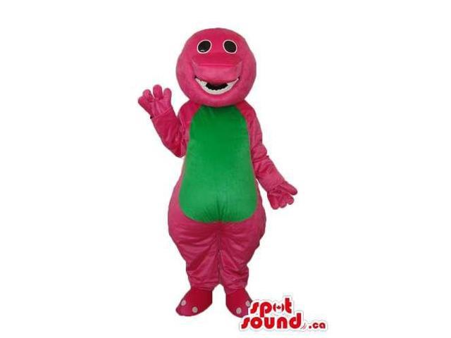 Pink Dinosaur Plush Canadian SpotSound Mascot With A Green Belly And Missing Tooth