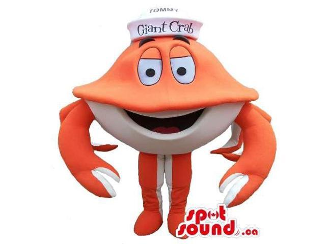 Customised Cartoon Orange And White Crab Plush Canadian SpotSound Mascot With Hat
