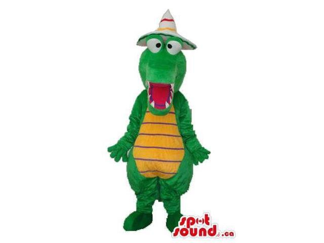 Cute Green Alligator Animal Canadian SpotSound Mascot With A White Hat