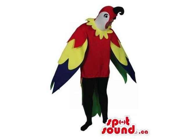 Red Parrot With Colourful Wings Adult Size Plush Costume