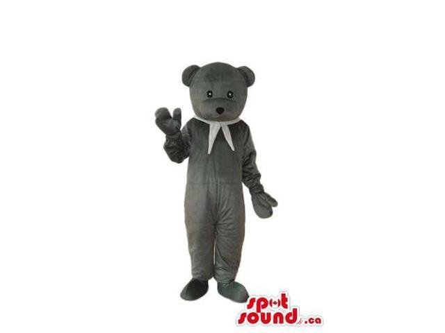 Grey Teddy Bear Plush Canadian SpotSound Mascot Dressed In A White Neck Scarf
