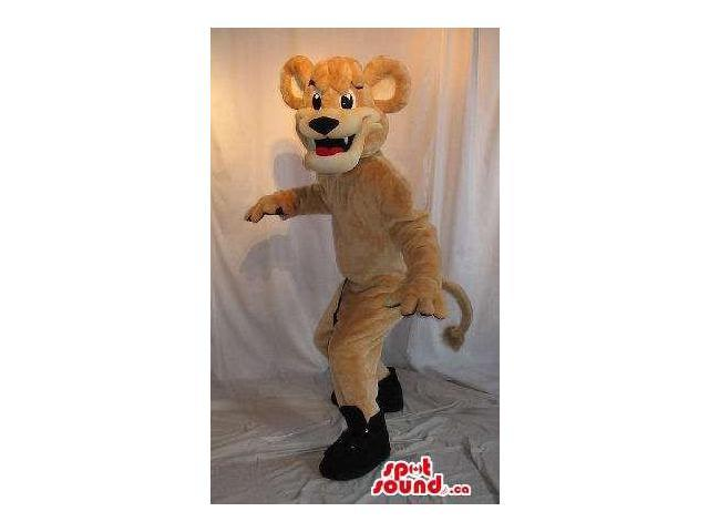 Customised Cute All Beige Tiger Plush Canadian SpotSound Mascot In Black Shoes