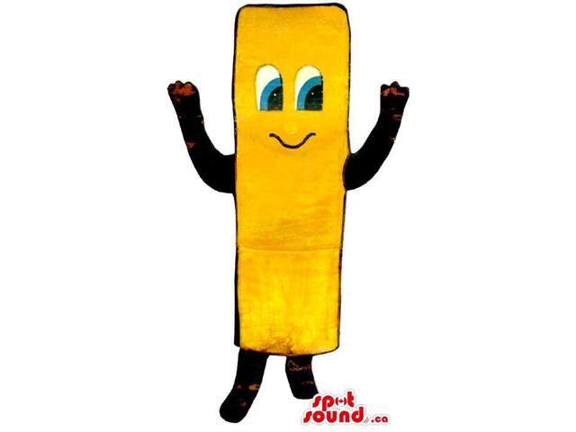 Large French Fry Flashy Yellow Canadian SpotSound Mascot With A Cute Face