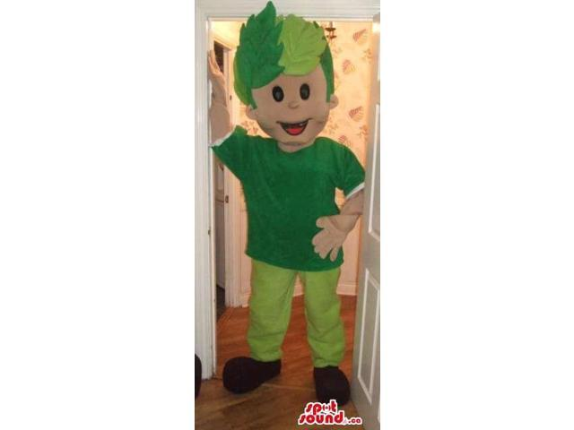 Boy Canadian SpotSound Mascot With Green Gear And Hair In Leaves