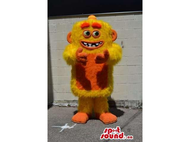 Cute Orange And Yellow Woolly Creature Plush Canadian SpotSound Mascot