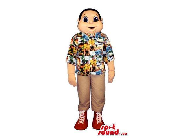 Boy Human Character Canadian SpotSound Mascot Dressed In A Summer Shirt