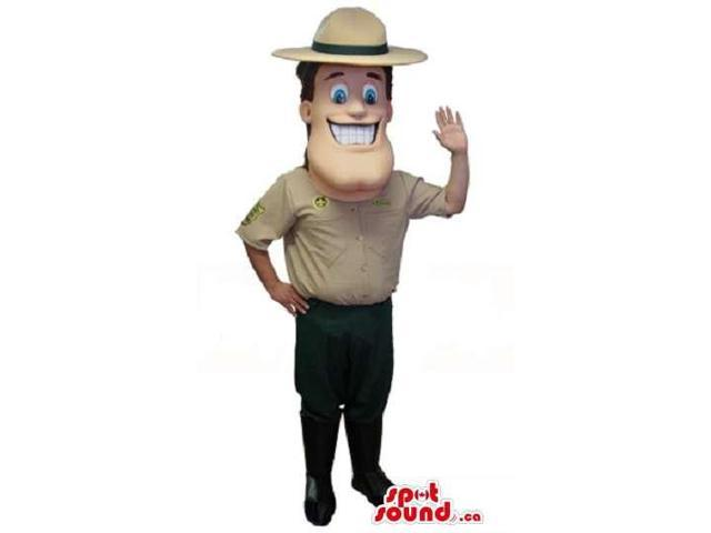 Happy Human Canadian SpotSound Mascot Dressed In Beige Park Guard Clothes
