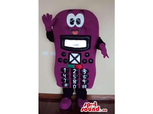 Purple Mobile Phone Canadian SpotSound Mascot With Black Keys And A Face