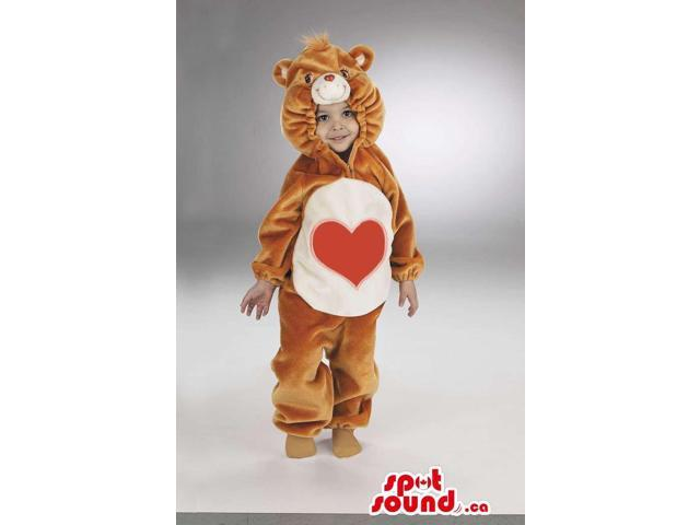 Heart Care Bear Brown And White Bear Plush Toddler Size Costume