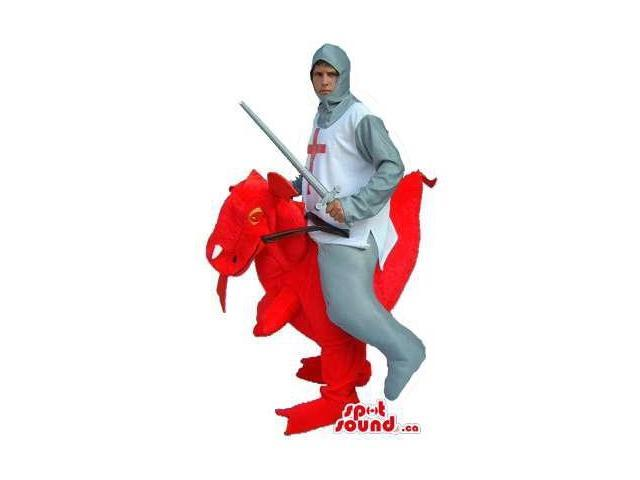 Saint George Warrior Walker Canadian SpotSound Mascot On A Red Dragon